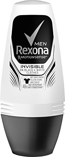 Rexona Men Roll-On Invisible on black and white clothes, Anti-Transpirant Deo, 6 x 50 ml