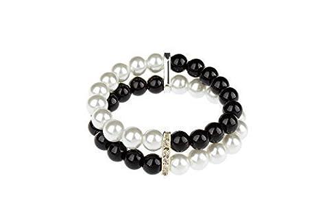 TS simple double Noir et blanc perle bracelet (Bracelet)
