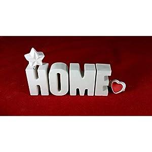 Beton, Steinguss Buchstaben 3 D Deko Schriftzug Namen HOME mit Stern und Herzklammer als Geschenk verpackt! Ein…