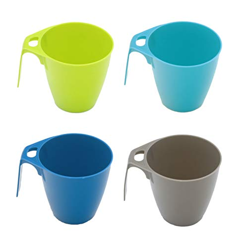 Camping Geschirr 4 Tassen 300 ml ideal Camping stapelbar in bunt Kaffeetasse Kaffeebecher Becher Campinggeschirr Picknick Kindergeschirr modernes Design Outdoor Suppentassen blau grün Henkelbecher