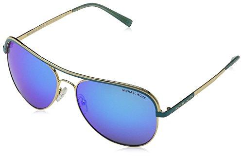 MICHAEL KORS Women's Vivianna I 110625 Sunglasses, Gold/Turquoise/Tealmirror, 58