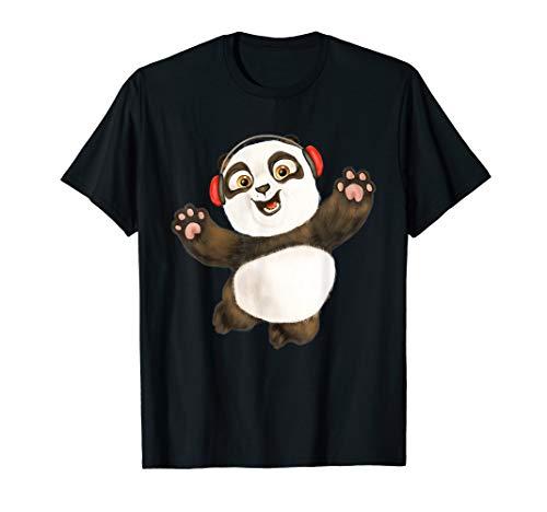 Tee Cute Baby Panda Hand Painted Cartoon Music Bear Headset T-Shirt -