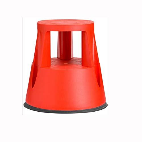RMJAI Rolling Tritthocker Tritthocker Leiter mit rutschfesten Plattformrollen Haushaltsgerät Mobiler Roller 330 LBS Kapazität / 17 Zoll Tritthocker (Farbe : Rot)
