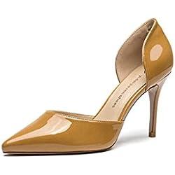 Frühling und Sommer neue elegante High Heels Sexy spitz Damen Schuhe ( Farbe : Gelb , größe : 35 )