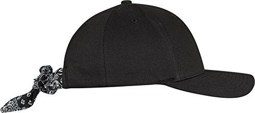 Flexfit Curved Bandana Tie Snapback Cap Unisex Kappe für Damen und Herren, einfarbige Mütze mit Bandana Verschluss blk