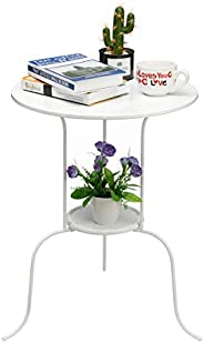 HollyHOME Accent Small Round End Table, Modern Metal Waterproof Outdoor&Indoor Side Table for Small Spaces