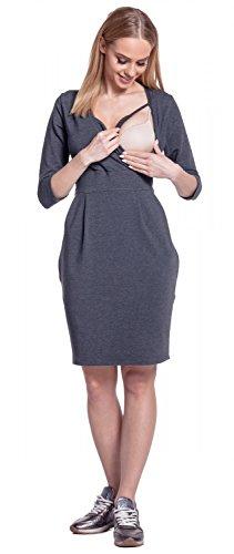 Happy Mama. Femme Robe Sweat-Shirt Allaitement Maternité Double Couches. 055p Graphite Mélange