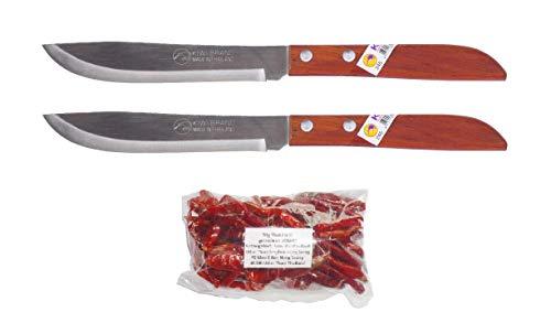 kiwiandkomkom 2 x Steakmesser Fleischmesser Marke Kiwi No. 245 + 30g Thai Chilli aus Nord Thailand Isaan Ban Nong Saeng