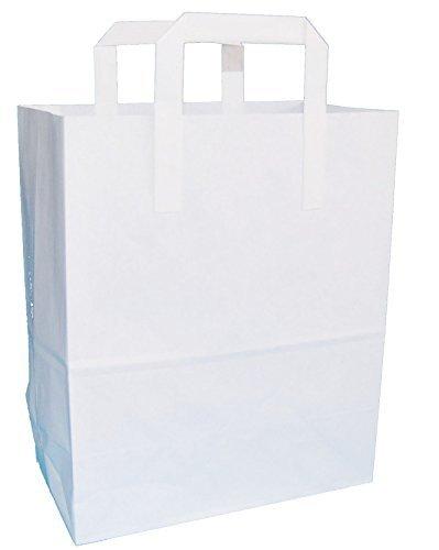 """weiß SOS zum Mitnehmen Papier Tragetasche - Weiß, 250x300x135mm (10""""x12""""x5.25"""")"""