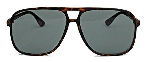amashades Vintage Nerdies Old School Brille für Damen o Herren oversized rechteckig 80er Jahre Brillengestell als Sonnenbrille oder Nerdbrille mit Klarglas F75 (Horn matt/Smoke)