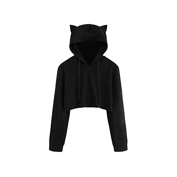 BaojunHT Girl Cat Ear Hoodie Sweatshirt Hooded Long Sleeve Designer Pullover Blouse