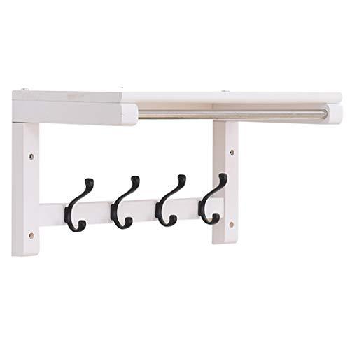Massivholz weiß Rack mit Wandbehang Handtuchhalter, Doppel -4/5/6-Haken Brieftasche Kleiderbügel für Schlafzimmer, Bad, Küche, Durchgang, Garderobe (größe : 4hooks) -