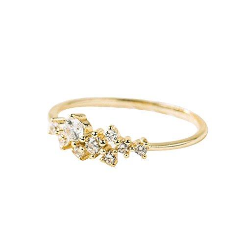 Sonnena Valentinstag Kristall Ring Einfache 3 Diamanten Ring Zirkonia Ring Einfache Ringe für Frauen Anti Allergien Ring