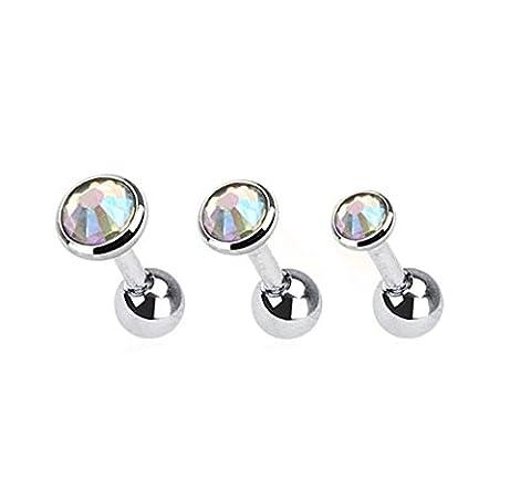 Lot 3 Piercings Cartilage Oreille en Acier Chirurgical 316 L – Piercing Hélix Tragus– 3 couleurs au choix Blanc, Boreale ou Noir