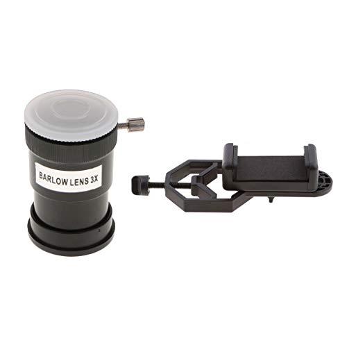 perfk Teleskop Okular 3X Barlow-Linse Purple Film mit Handy Adapter Halterung