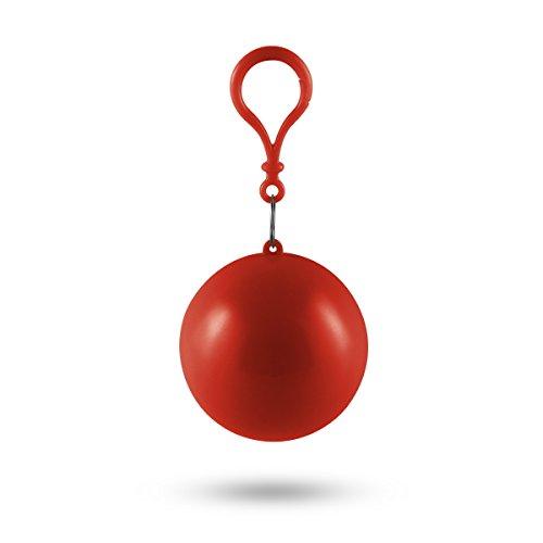 MUROAD Einweg Regenmantel Portable Haken Notfall Poncho Ball Für Outdoor-Aktivitäten, einmal Regencape, Regenpocho (Rot)