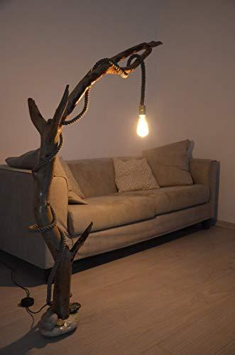 Lampada da terra design in legno con tronco di albero for Lampade arredo casa