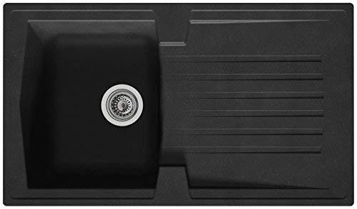 respekta Mineralite Spüle Küchenspüle Spülbecken Einbauspüle Boston 86 x 50 schwarz