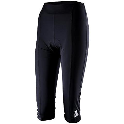 Pitbull Donne 3/4 pantaloni ritagliata 3D riempito ciclismo su strada / MTB Fitness Capri Collant - nero - XL