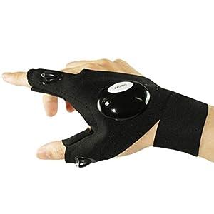 VORCOOL LED Taschenlampe Handschuhe Fingerlose Taschenlampe Handschuhe für Outdoor Camping Angeln Wandern Reparatur Fahrrad
