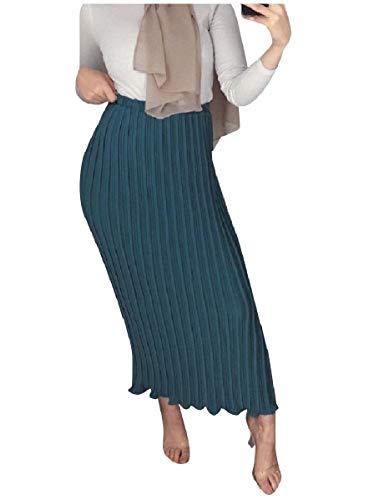 on Muslim Slim Fitted High Waist Classy Chiffon Skirt Blackish Green L ()