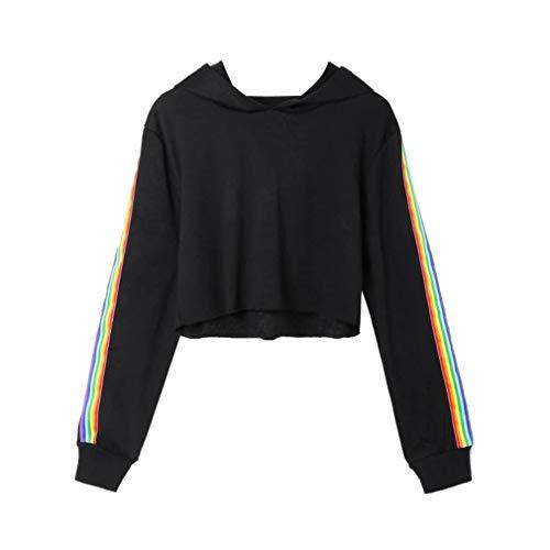 TWIFER Gestreifte Crop Pullover Hoodie Sweatshirt Damen Kapuzenpullover Bekleidung Mädchen
