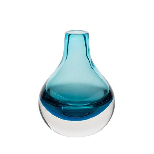 CASAMOTION Vase Handgefertigte Bud Vase aus Glas Deko Tischvase Blumenvase,Blau,Geschenkbox,10×10×13,5cm Glas Geblasen Vase