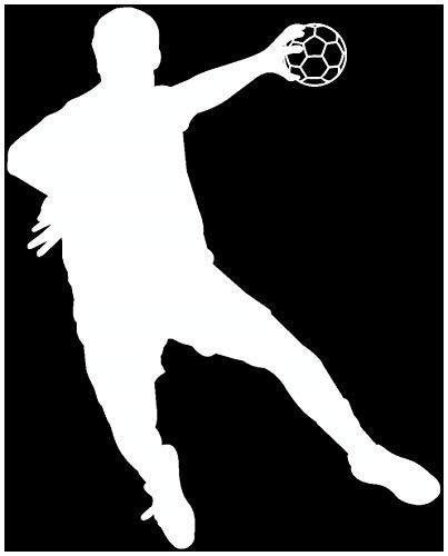 Samunshi® Autoaufkleber Handballspieler Fallwurf Aufkleber in 8 Größen und 25 Farben (10x8cm weiß)