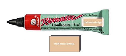 Helmecke & Hoffmann Remalle Emaille Paste Emaillelack Reparaturlack Lack in vielen Farben je 8 ml + Pinsel Fuer Jede Tube (Bahama-beige)