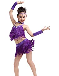 DESY Tenue(Vert Violet Rouge Jaune,Elasthanne Polyester,Danse latine)Danse latine- pourEnfant Cristaux/Stras Frange (s) Spectacle Danse latine , 110