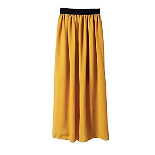 WUSIKY Rockabilly Kleider Damen Rock Mädchen Kleid Lässig Täglich Stretch Hohe Taille Plain Ausgestelltes Gefaltetes Langes Maxikleid Tutu 2019 New Summer Skirts(One Size,Gelb) -