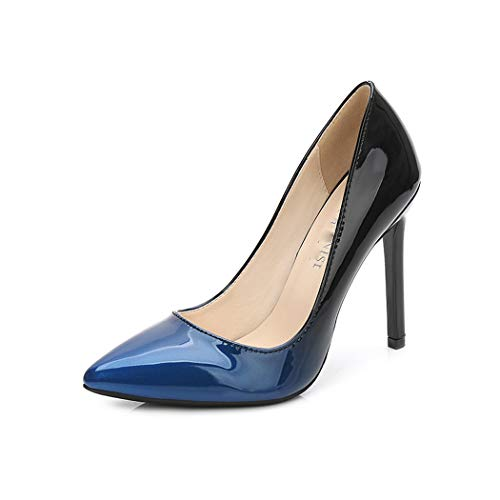 CRBHSH Women es High Heels Pointed Shallow Kouth Stiletto Women ' s Shoes Gradient Color Patent Leder Große Größe High Heels 11Cm,Blue,37 Strappy Patent Platform Sandal