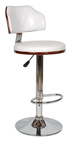 ts-ideen Design Club Tabouret de Bar Chaise de Bar Cuisine Salle à Manger Siège Blanc Bois Hauteur siège 61 x 82 cm