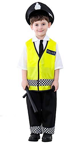 Deluxe Kostüm Polizist - Pretty Princes Kinder Police kostüm Gelb Deluxe Cop cosplay Jungen Polizist Anzug mit Polizei-Mütze,Walkie Talkie,Schlagstock 7-8 jahre