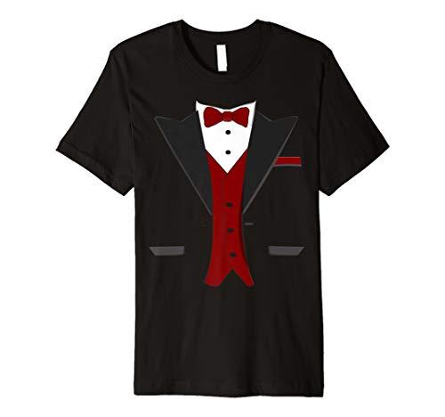 Tuxedo Halloween Hochzeit Bräutigam Funny rot Kostüm T-Shirt