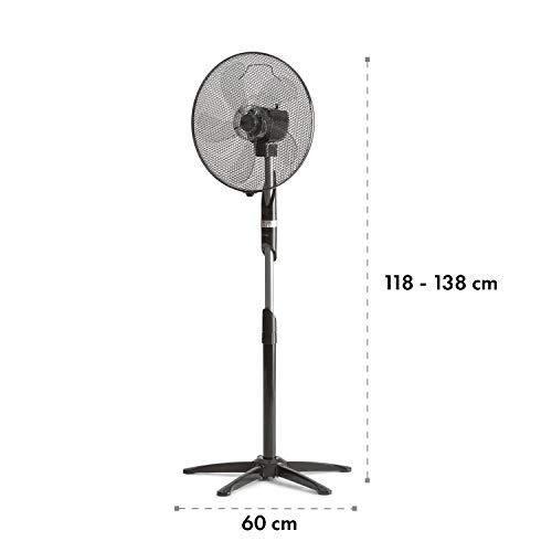 Klarstein Summer Vibe FreshLine • Ventilateur sur Pied • 5 puissantes pales • Oscillation Horizontale à 65° • Jusqu'à 2040 m³/h • 3 Niveaux de Puissance • Grille de Protection • Noir