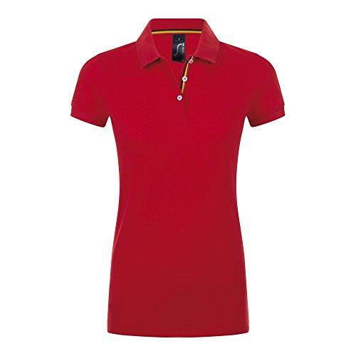 SOLS Patriot - Polo à manches courtes en coton - Femme Blanc/Rouge