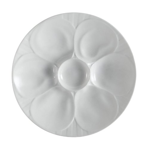CAC China OYS-9 Porcelain Oyster Plate with 6-Compartment, 9-Inch, Super White, Box of 24 White Oyster Plate