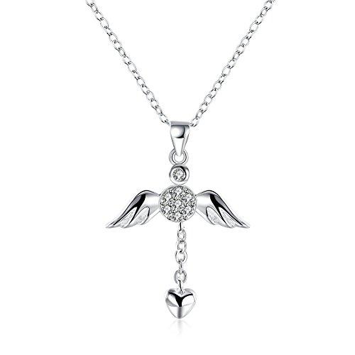 yeahjoy Charm Damen platiniert Einzigartige Angel Form Anhänger Halsketten Männer 14k White Gold Halskette