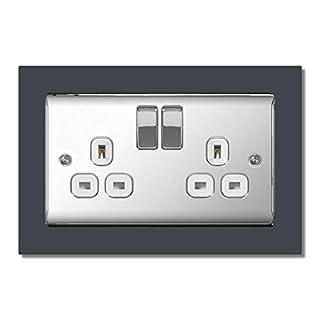 Matt Slate Grey Double Light Switch Surround Acrylic Finger Plate Panel Socket