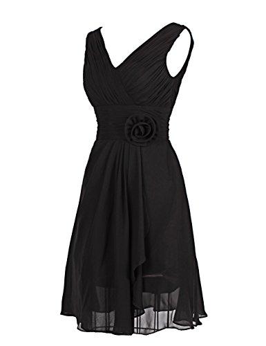 Dresstells, robe courte de demoiselle d'honneur robe de cocktail mousseline col en V sans manches Bordeaux