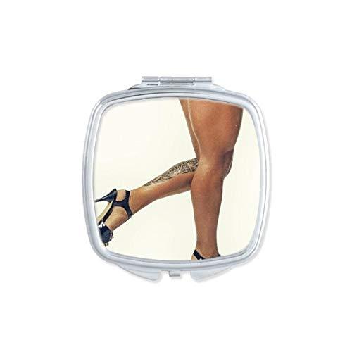 DIYthinker Tacones Altos Tatuaje Desnuda Sexy Culo Butt GAL Plaza de Maquillaje Compacto Espejo de Bolsillo portátil pequeño Linda Mano Espejos Regalo