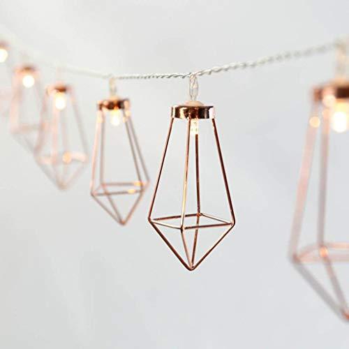 LED Lichterkette Batteriebetrieb, Frashing Roségold Diamantform Schlafzimmer Licht Warme Farbe Garten Hängelampe Außenbeleuchtung Wiesnzelt Garnitur Weihnacht Party, 3 m (3m-20 Lampe)