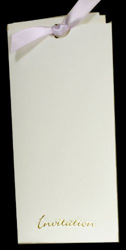 , Blass Elfenbeinfarben Leinen Textur Gold Folie geprägt Pocket Einladungen bn2770F -