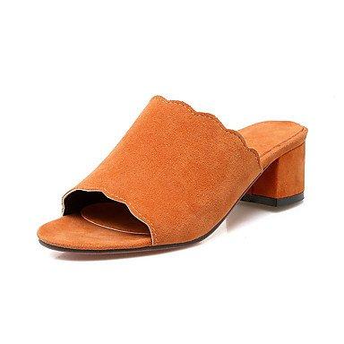 Sandales femmes Fleece Slingback Été Automne Office & Robe Carrière Partie & Soirée Talon talon bloc Bleu Vert Orange 1en 1 3/4'' Orange