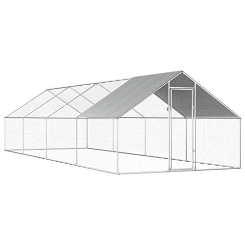 Festnight gabbia per polli da esterno in acciaio zincato 2,75x8x2m