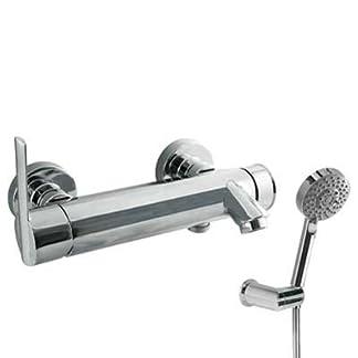 Monomando bañera‑ducha Ducha de mano masaje Ø100mm. (5funciones) (1.34.748) con soporte orientable. Flexo SATIN (91.34.609).