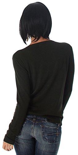 Jela London Damen Pullover in Schnüroptik Einheitsgröße (34-40) Grün