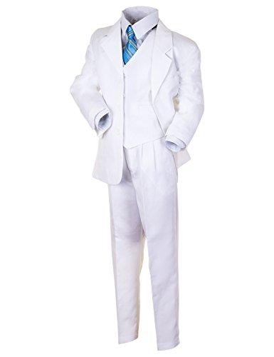 """Kinder Anzug """"Paul"""" klassisch-elegant in 4 Farben! 5-tlg. Anzug in Schwarz, Grau, Braun und Weiß! Sakko, Weste, Hose, Hemd u. Krawatte! Gr.10(134/140),weiß"""