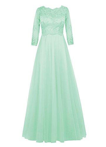 Dresstells, robe longue de mère de mariée, robe de soirée formelle manches 3/4, robe de demoiselle d'honneur Menthe